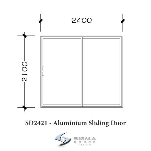 2 panel sliding door white aluminium door size 2400 x 2100mm SD2421 Sigmadoors