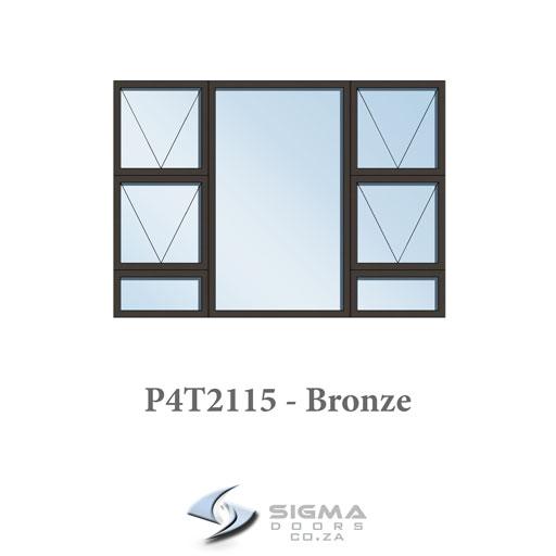 Bronze aluminium windows sizes P4T2115 2100 x 1500mm Sigmadoors