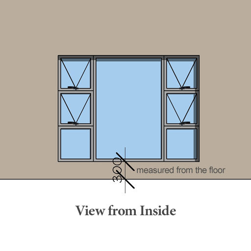 Inside view of Aluminium window P4T2418 Sigmadoors