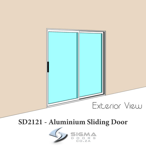 Exterior view of aluminium sliding door SD2121 - 2100 x 2100mm sliding door installations Sigmadoors