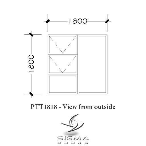 Standard aluminium window size 1800 x 1800mm Sigmadoors