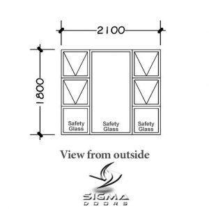Glazing for aluminium windows 2100 x 1800mm Sigmadoors