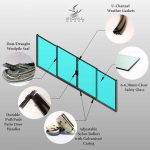 Aluminium Sliding door double sliding Patio door shutterproof safety glass rollers handle Sliding glass door Sigmadoors