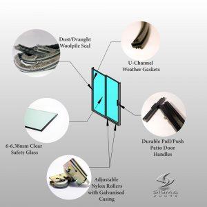 standard Aluminium sliding door OX - detail_Sliding Glass Doors Rollers handles single slider aluminium door - Sigmadoors